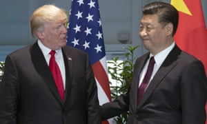 Donald Trump, left, and Chinese president Xi Jinping arrive for a meeting on the sidelines of the G-20 Summit in Hamburg, Germany, earlier this year.