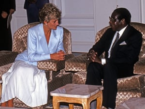 Diana, Princess of Wales, meets President Mugabe during a royal visit in July