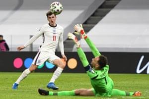 England's midfielder Mason Mount scores against Albania