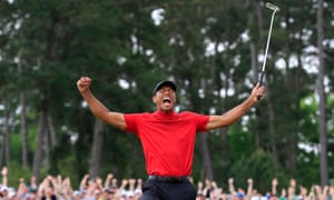 Tiger Woods celebrates after winning the 2019 Masters tournament in Augusta, US.