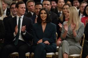 Ivanka Trump and Jared Kushner applaud as Kim Kardashian is introduced.
