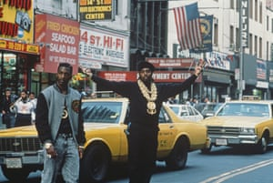 Eric B & Rakim, New York City, circa 1989 American hip hop duo Eric B and Rakim, who NPR's Tom Terrell eight years later would dub 'the most influential DJ/MC combo in contemporary pop music period', walking across 14th Street