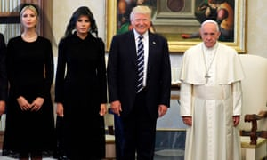 Pope Francis met with Donald Trump, Melania Trump and Ivanka Trump at the Vatican on 24 May 2017.