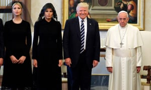 Pope Francis with US President Donald Trump, First Lady Melania Trump and the daughter of US President Donald Trump Ivanka Trump at the end of a private audience at the Vatican on May 24, 2017