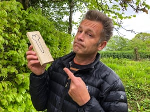 'Drawn to scale' … Chris Packham with the block of wood delivered to his home.