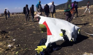 Part of the wreckage of the Ethiopian Airlines plane near the town of Bishoftu, south-east of Addis Ababa.