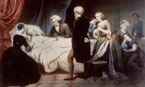 The Death of Washington – as depicted in rather whitewashed fashion by an unknown artist.