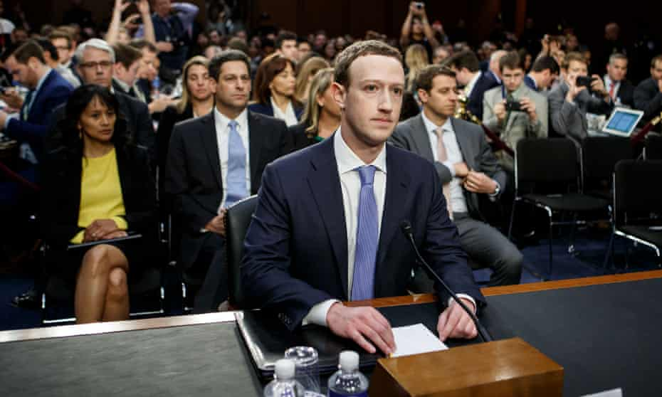 Mark Zuckerberg testifies before on Capitol Hill in 2018 following the privacy scandal.