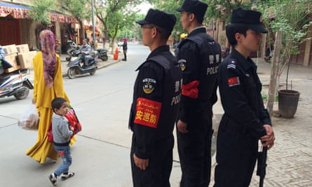 Police in Kashgar, a city in the Xinjiang Uyghur autonomous region, in China's far west.
