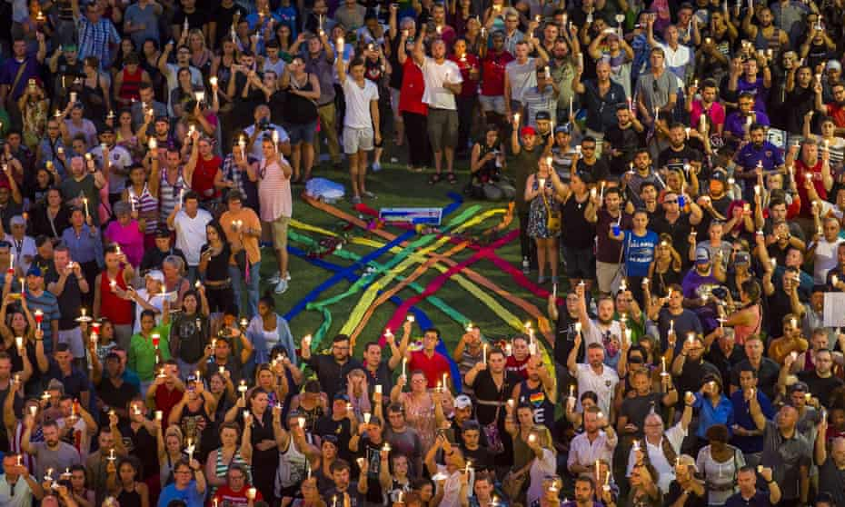A vigil for those killed and injured in the mass shooting at the Pulse nightclub in Orlando, Florida