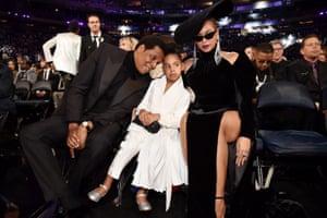 Beyoncé, Jay Z and Blue Ivy at the Grammy awards.