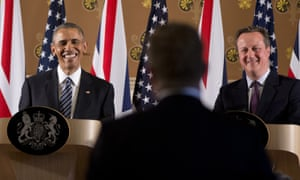 Barack Obama and David Cameron are all smiles as they listen to a reporter's question during the joint news conference.