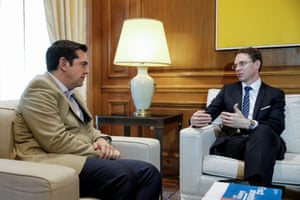 Greek PM Tsipras meets with European Commission Vice-President Katainen in his office in the Maximos Mansion in Athens.