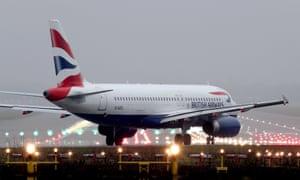 British Airways jet on Heathrow runway