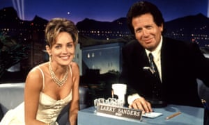 Garry Shandling with guest Sharon Stone on the Larry Sanders Show in 1994.