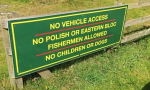 Sign prohibiting Polish and eastern bloc fishermen