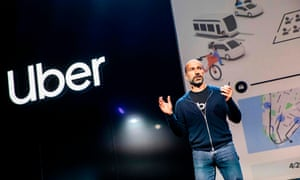 Dara Khosrowshahi addresses the audience during the keynote at the start an Uber products launch in San Francisco on Thursday.