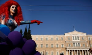 A drag queen in front of the Greek parliament during the Athens pride parade.