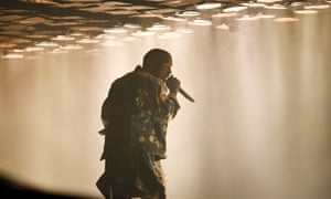 Kanye West headlining Glastonbury in 2015.