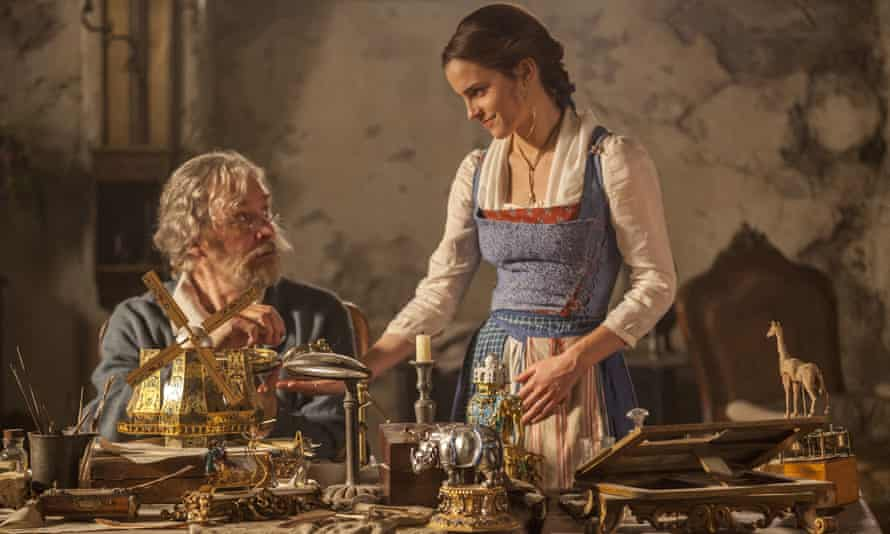 Emma Watson and Kevin Kline in Beauty and the Beast