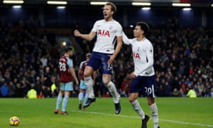 Tottenham Hotspur's Harry Kane celebrates scoring the second of his three goals as the London side beat Burnley at Turf Moor.