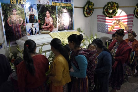 People attend the wake of Claudia Patricia Gómez González in the village of Los Mendoza in western Guatemala last year.