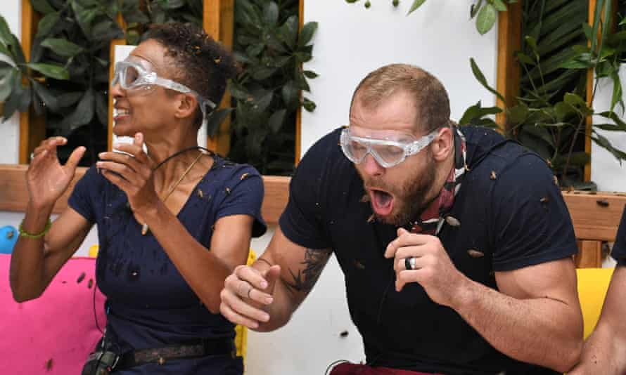 Adele Roberts and James Haskell undergo a Bushtucker Trial
