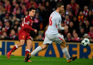 Coutinho scores the fifth for his hat-trick.