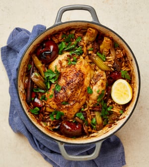 Yotam Ottolenghi's one-pot chicken with orzo, porcini and cinnamon.