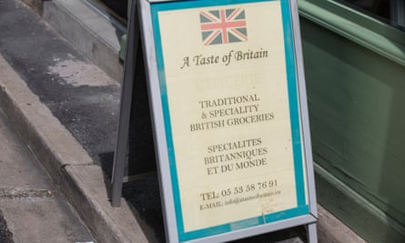 A sign for a shop selling British goods