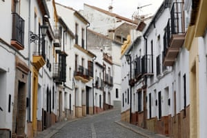 An empty street in the mountaintop city of Ronda in the Málaga region