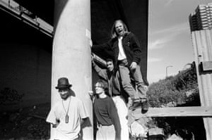 The Prodigy were formed in Braintree, Essex in 1990 by Liam Howlett. An early band portrait by the Westway in London. Keith Flint in on the right, 1991