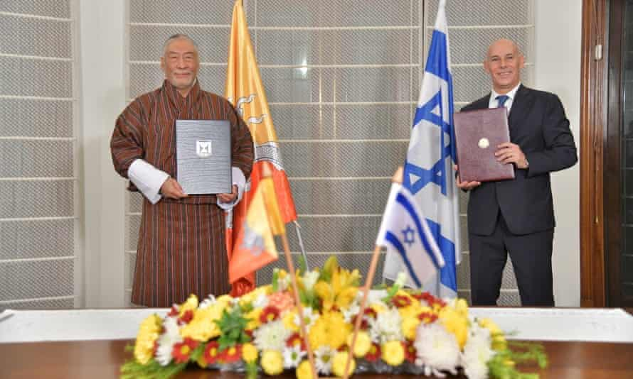The Bhutanese and Israeli ambassadors to India at a ceremony to establish diplomatic relations between their two countries, held in the Israeli embassy in New Delhi, India.