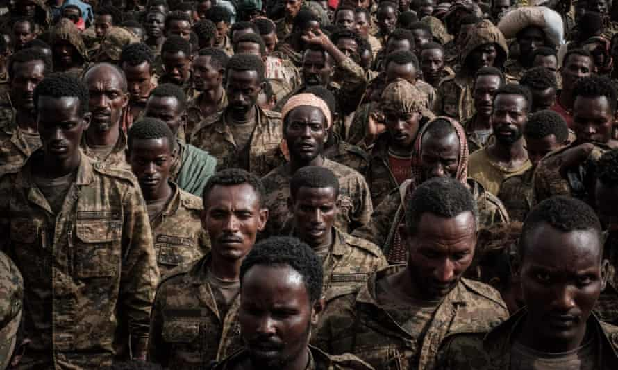Ethiopian soldiers taken captive by the Tigray Defence Forces in Mekele, capital of the Tigray region, last month.