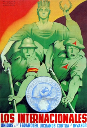 A republican propaganda poster from 1937 declaring 'United with the Spanish, we fight the Invader'.