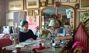 Min Hogg, photographed at home in London in 2017, at the sitting room table where she dreamed up her magazine.
