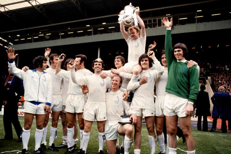 Peter Lorimer (third right) celebrates with his Leeds teammates after winning the FA Cup in 1972.