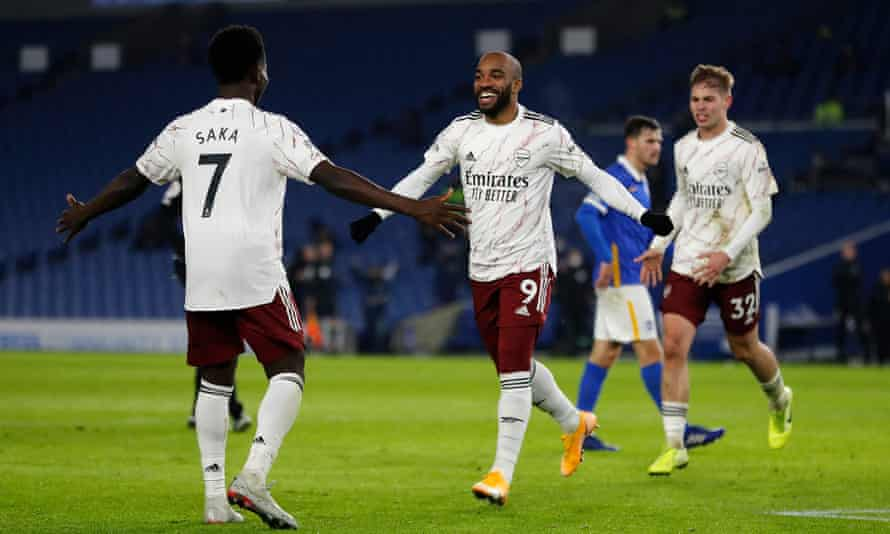 Alexandre Lacazette thanks Bukayo Saka after his cross allowed the French forward to score Arsenal's winner.