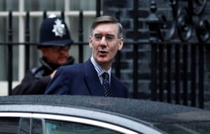 London, UK: The leader of the House of Commons, Jacob Rees-Mogg, arrives at Downing Street