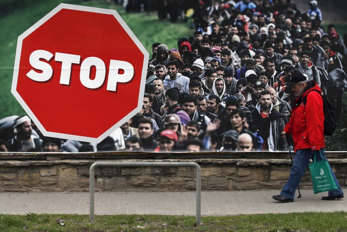 Image result for stop migrants stop terorism""
