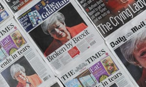 Front page headlines reporting Theresa May's resignation announcement