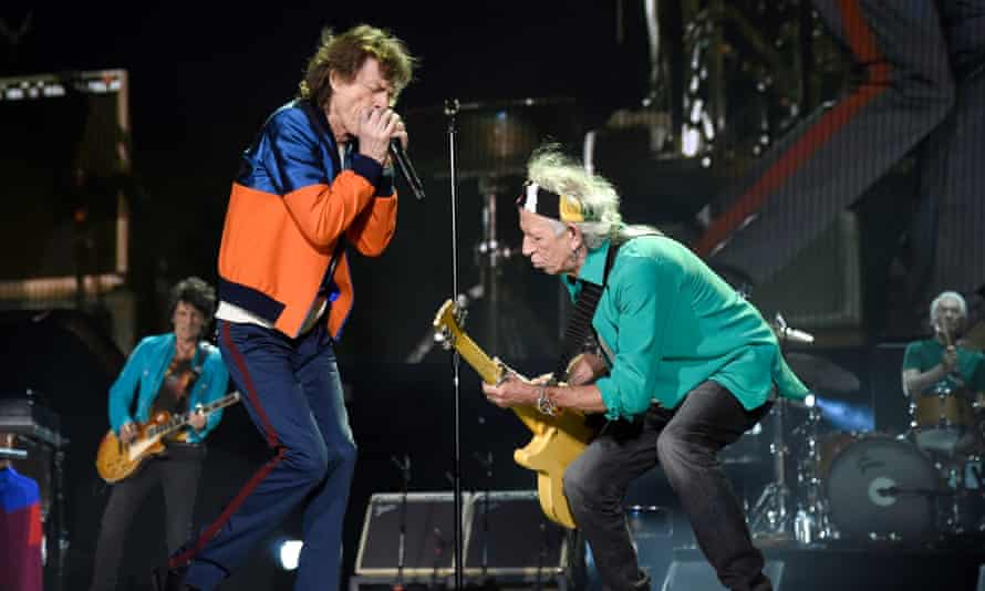 Ronnie Wood, Mick Jagger, Keith Richards and Charlie Watts of The Rolling Stones perform onstage during Desert Trip at The Empire Polo Club on October 7, 2016 in Indio, California