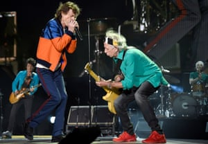 The Stones in action at Desert Trip, in October. Photograph: Kevin Mazur/Getty Images
