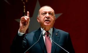 Turkish President Recep Tayyip Erdoğan addresses media in October.