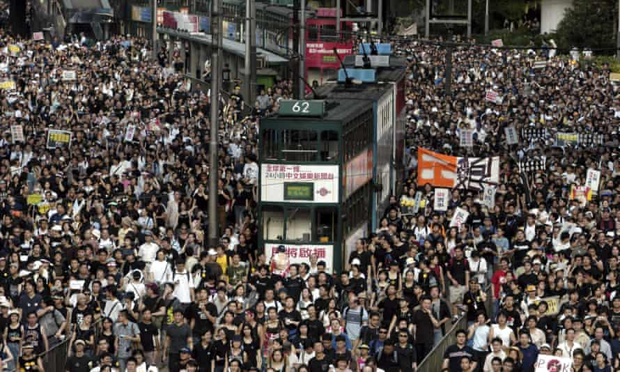 The huge protests in Hong Kong on 1 July 2003.