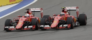 Vettel overtakes Raikkonen.