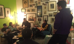 People gather at Le Resistance Salon in Manhattan to discuss the US constitution with Dipal Shah.