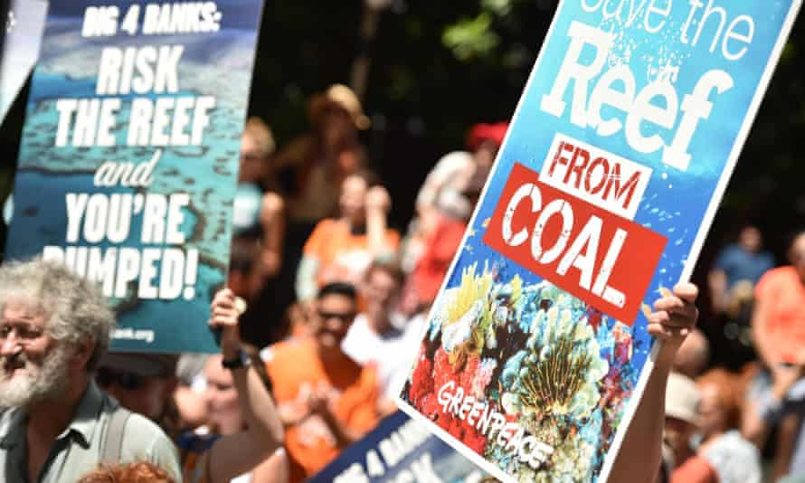 Protesters in Sydney on global divestment day on 13 February. Liberal MP George Christiansen has said conservationists lobbying over the Great Barrier Reef want to shut the coal industry down completely.