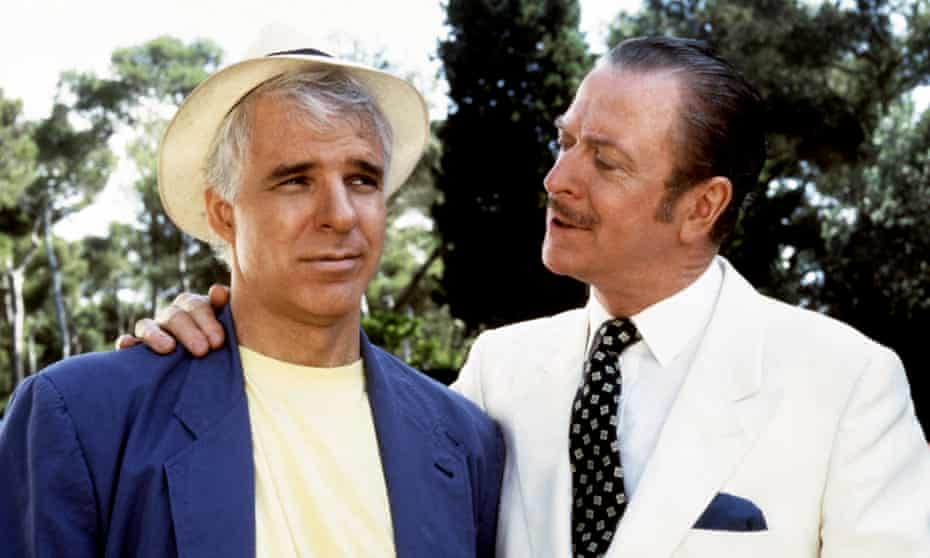 With Steve Martin in Dirty Rotten Scoundrels.