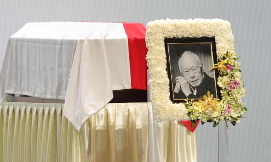 The casket of the late Lee Kuan Yew at the University Cultural Centre, National University of Singapore.